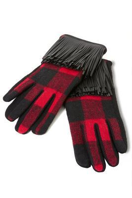 Plaid Faux-Leather Fringe Gloves