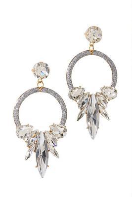 crystal drop hoop earring