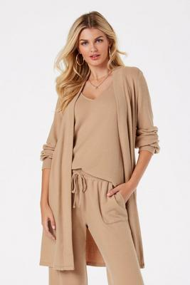 hacci side-slit knit duster