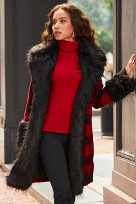 buffalo check faux-fur coat