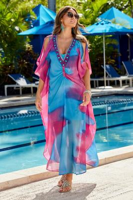 Caftan-Style Embellished Dress