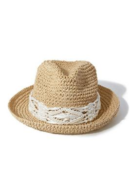 Crochet Trim Fedora Hat