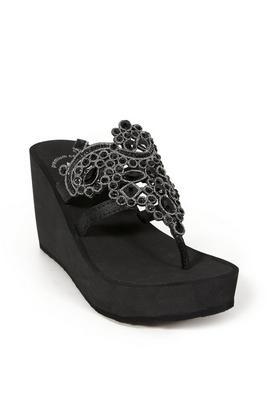 crystal embellished wedge sandal