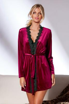 Lace-Trim Velour Robe