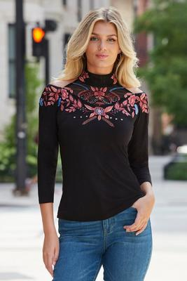 Display product reviews for Mock-Neck Embroidered Top