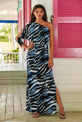 Display product reviews for Animal Print One-Shoulder Maxi Dress