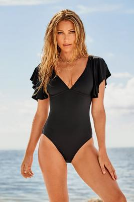 V-Neck Flutter Sleeve One-Piece Swimsuit