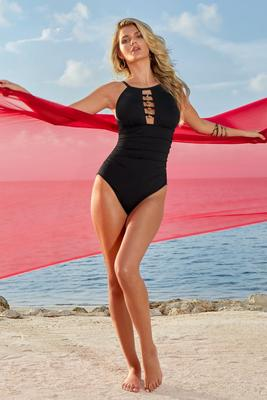 High-Neck Grommet Detail One-Piece Swimsuit