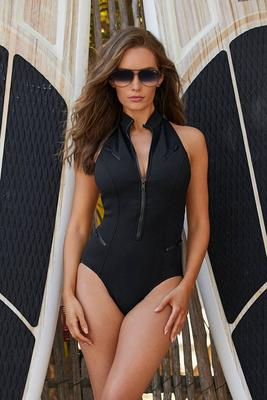 High-Neck Zip-Front Scuba One-Piece Swimsuit