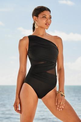 One-Shoulder Mesh Illusion One-Piece Swimsuit