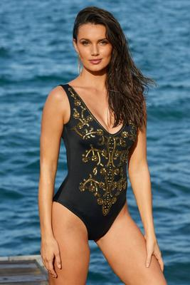 Sequin-Embellished One-Piece Swimsuit