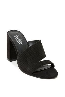 cutout block heel sandal