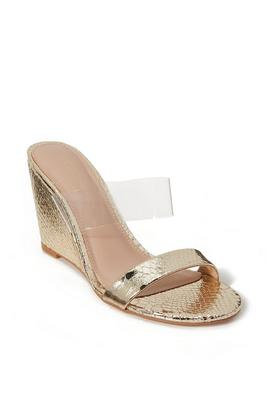 metallic snake lucite slip-on wedge