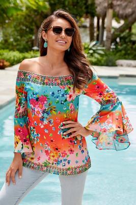 colorful floral print embellished off-the-shoulder blouse