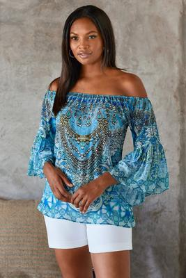 Multicolor Print Off-The-Shoulder Top