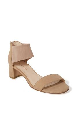 single-strap mesh block heel shoe