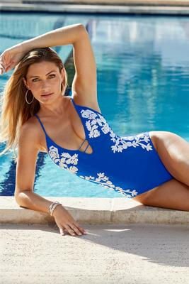 Blue Embroidered One-Piece Swimsuit