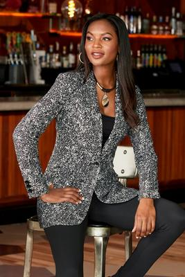 Display product reviews for Beyond Travel Stamped Snake Boyfriend Blazer