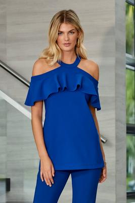 Beyond Travel Cold-Shoulder Ruffle Top