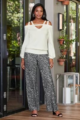 Display product reviews for Beyond Travel Stamped Snake High-Rise Palazzo Pant
