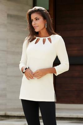 Beyond Travel Cutout Three-Quarter-Sleeve Top
