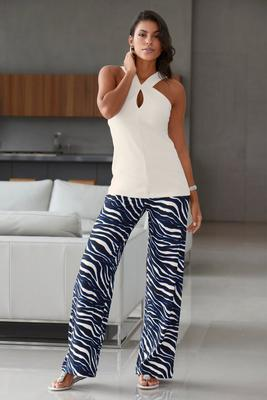 Beyond Travel Sophisticated Stripes High-Rise Palazzo Pant
