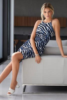 Beyond Travel Sophisticated Stripes High-Neck Dress