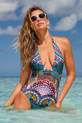 Display product reviews for Printed Plunge Halter One-Piece Swimsuit