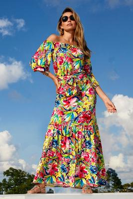 Floral Off-The-Shoulder Tie-Waist Maxi Dress