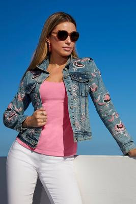 floral embroidered and embellished denim jacket