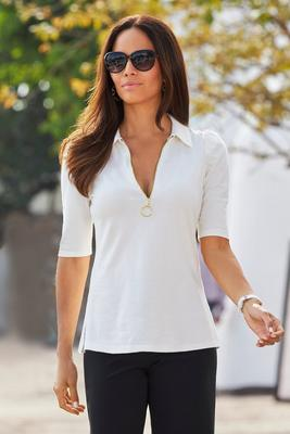 So Easy Puff-Sleeve Collared Zip Top