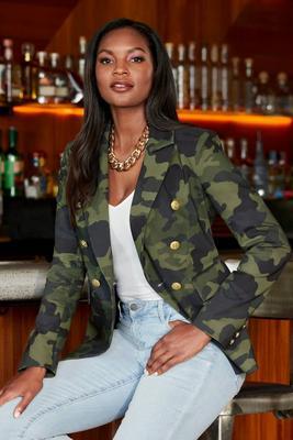 camo double-breasted blazer