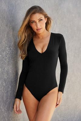 Long-Sleeve Deep V-Neck Bodysuit