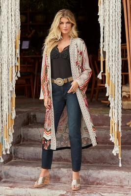 Floral Border Print Duster