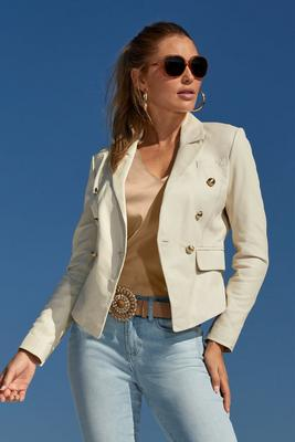 Modern Leather Double-Breasted Blazer