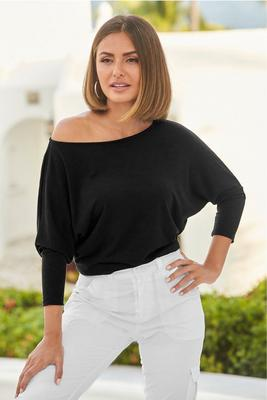 Slouchy Wide-Neck Slub Tee