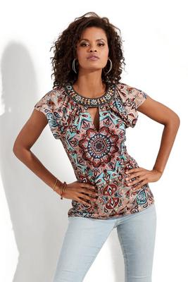 Display product reviews for Embellished Flutter-Sleeve Keyhole Print Top