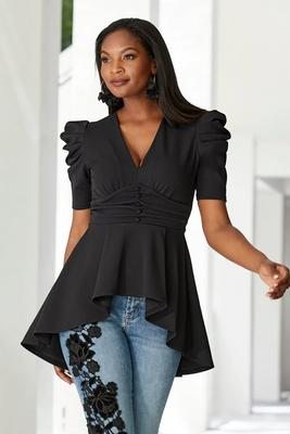 high-low ruched covered button top