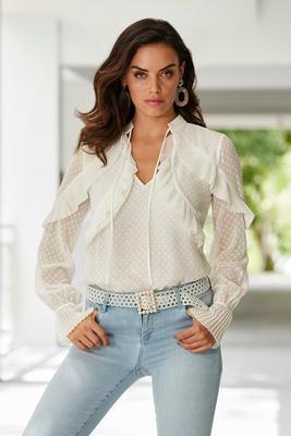 ruffle inset swiss dot blouse
