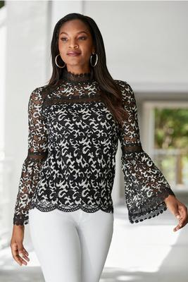 Mock-Neck Lace Inset Blouse