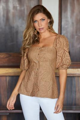 Eyelet Puff Sleeve Square-Neck Top