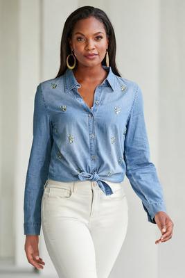 jewel embellished denim shirt