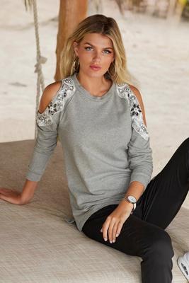 Embellished Cold-Shoulder Sweatshirt