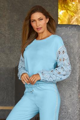 embellished lace-sleeve sweatshirt