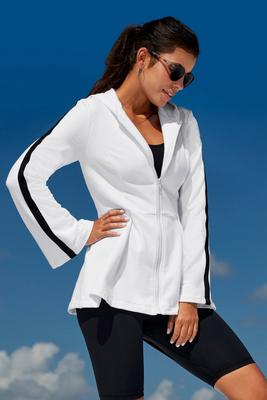 french terry flare-sleeve jacket