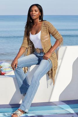 Metallic Crochet Fringe Cardigan