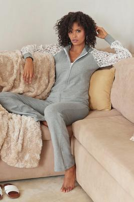 Lace-Sleeve Lounge Set