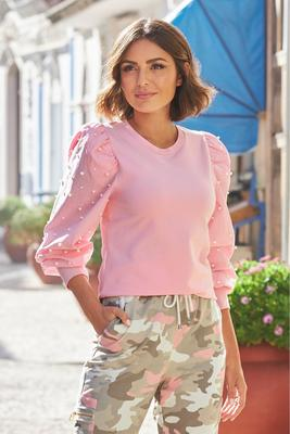Display product reviews for Pearl Embellished Balloon-Sleeve Top