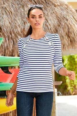 puff-sleeve lace-up stripe top