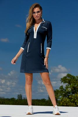 Three-Quarter Sleeve Chic Zip Dress